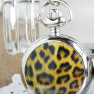 Silver Vintage Style Leopard Print  Pocket Watch Necklace