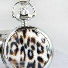 Silver Vintage Style Leopard Print Pocket Watch Necklace
