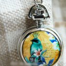 Antiqued Silver Vintage Style Classic Necklace Blue Bird Queen Pocket Watch Necklace