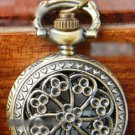 Antiqued Brass Vintage Style  Classic  Necklace  Hollow Out Plum Blossom Pocket Watch Necklace