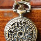 Antiqued Brass Vintage Style Classic Necklace Hollow Out The Flowers Pocket Watch Necklace
