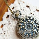 Antiqued Brass Vintage Style Classic Necklace Hollow Out Pattern Pocket Watch Necklace