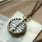 Antiqued Brass Vintage Style  Hollow Adam Eve rib  Pocket Watch Necklace