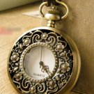 Antiqued Brass Vintage Style Hollow out a flower with five petals Pocket Watch Necklace