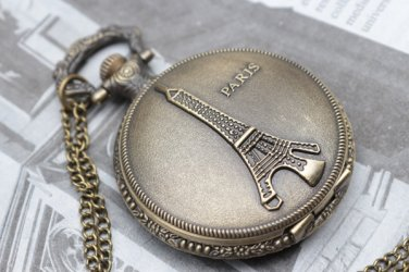 Antiqued Brass Vintage Style Classic Necklace Eiffel Tower Pocket Watch Necklace