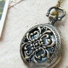 Antiqued Brass Vintage Style Classic Necklace Hollow Out Pistil Pocket Watch Necklace