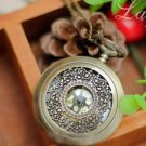 Antiqued Brass Vintage Style  Hollowed Out Pattern Pocket Watch Necklace