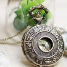 Antiqued Brass Vintage Style 12 Constellation Pocket Watch Necklace