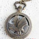 Antiqued Brass Vintage Style Hollow Eagle Pocket Watch Necklace