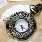 Antiqued Brass Vintage Style Hollow Out Snow In May  Pocket Watch Necklace