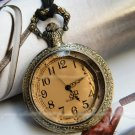 Antiqued Brass Vintage Style Multi Edge Smoky Quartz Surface Pocket Watch Necklace