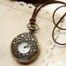 Antiqued Brass Vintage Style Cut Flowers Pocket Watch Necklace