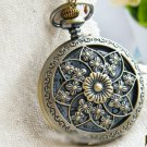 Antiqued Brass Vintage Style Hollow Windmill Flowers Pocket Watch Necklace