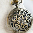 Antiqued Brass Vintage Style Hollow Out The Dream To Spend Pocket Watch Necklace