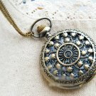 Antiqued Brass Vintage Style  Dandelion Pocket Watch Necklace