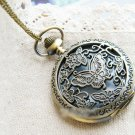Antiqued Brass Vintage Style Iris Pocket Watch Necklace