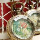 Antiqued Brass Vintage Style Tower Of London Transparent Citrine Pocket Watch Necklace