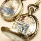 Antiqued Brass Vintage Style  Crystal shell Tower of London Pocket Watch Necklace