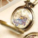 Antiqued Brass Vintage Style Crystal Shell Vintage Car Pocket Watch Necklace