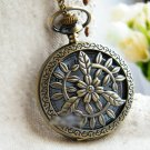 Antiqued Brass Vintage Style  Hollow Leaves Pocket Watch Necklace