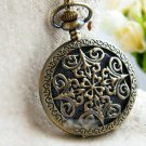 Antiqued Brass Vintage Style  Engraved Paper-Cut Pocket Watch Necklace