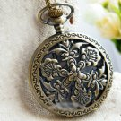 Antiqued Brass Vintage Style  Fan Flower Pocket Watch Necklace