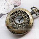 Antiqued Brass Vintage Style Winding Hollow Leaves Pocket Watch Necklace