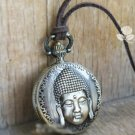 Antiqued Brass Vintage Style Classic Buddha Head Pocket Watch Necklace