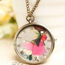 Brass Vintage Style Classic Colour Graph The Rabbit Pocket Watch Necklace