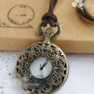 Brass Vintage Style Classic Baroque Hollow Carved Pocket Watch Necklace