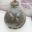Brass Vintage Style Classic The Court Butterfly Charm Pocket Watch Necklace