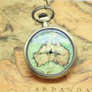 Antiqued Brass Vintage Style Map Of Australia Pocket Watch Necklace