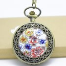 Antiqued Brass Vintage Style Classic Enamel Flower Pocket Watch Necklace