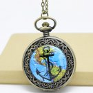 Antiqued Brass Vintage Style Route Map Of Anchor Pocket Watch Necklace