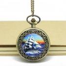 Antiqued Brass Vintage Style Vintage Sailing Pocket Watch Necklace
