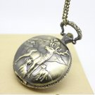 Antiqued Brass Vintage Style Reindeer Pocket Watch Necklace