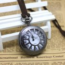 Metal Black Vintage Style Hollow Out  Pocket Watch Necklace