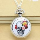 Antiqued Silver Vintage Style Classic Punk Rose Skull Pocket Watch Necklace