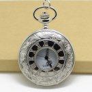Silver Vintage Stylel Roman Pocket Watch Necklace