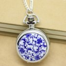Antiqued Silver Vintage Style Classic Blue And White Porcelain Enamel  Pocket Watch Necklace