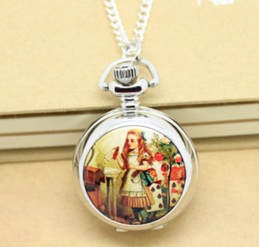 Antiqued Silver Vintage Style Classic Alice Enamel Pocket Watch Necklace
