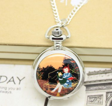 Antiqued Silver Vintage Style Classic Girl Reading Enamel Pocket Watch Necklace