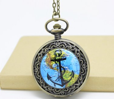 Antiqued Brass Vintage Style Classic Route Map Of Anchor Pocket Watch Necklace
