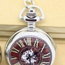 Antiqued Silver Vintage Style Classic Rome Bell Porcelain Enamel Pocket Watch Necklace