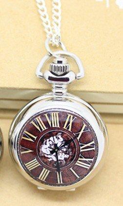 Antiqued Silver Vintage Style Classic Rome Bell Porcelain Enamel Pocket Watch Necklace