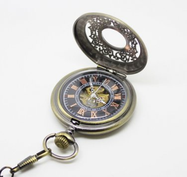 Antiqued Brass Vintage Style Classic Dense Pattern Machine Pocket Watch Necklace
