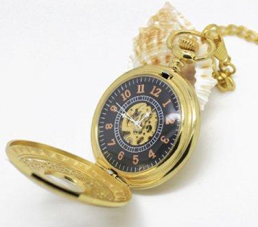 Antiqued Gold Vintage Style Classic Dense Pattern Machine Pocket Watch Necklace