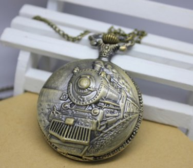 Antiqued Brass Vintage Style Classic Locomotive Pocket Watch Necklace