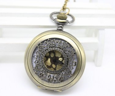Antiqued Brass Vintage Style Classic Hollowed Out Pattern Pocket Watch Necklace