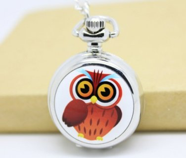 Antiqued Silver Vintage Style Classic Cartoon Owl Enamel Pocket Watch Necklace